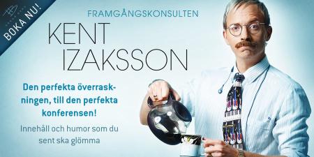 Komikern Håkan Berg i rollen av framgångskonsulten Kent Izaksson