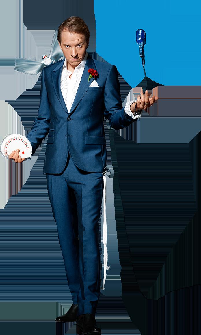 Komikern Håkan Berg som cool magiker med flaxande mekanisk duva på axeln.