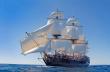Den gamla östindie-fararen Götheborg på öppet hav med böljande segel
